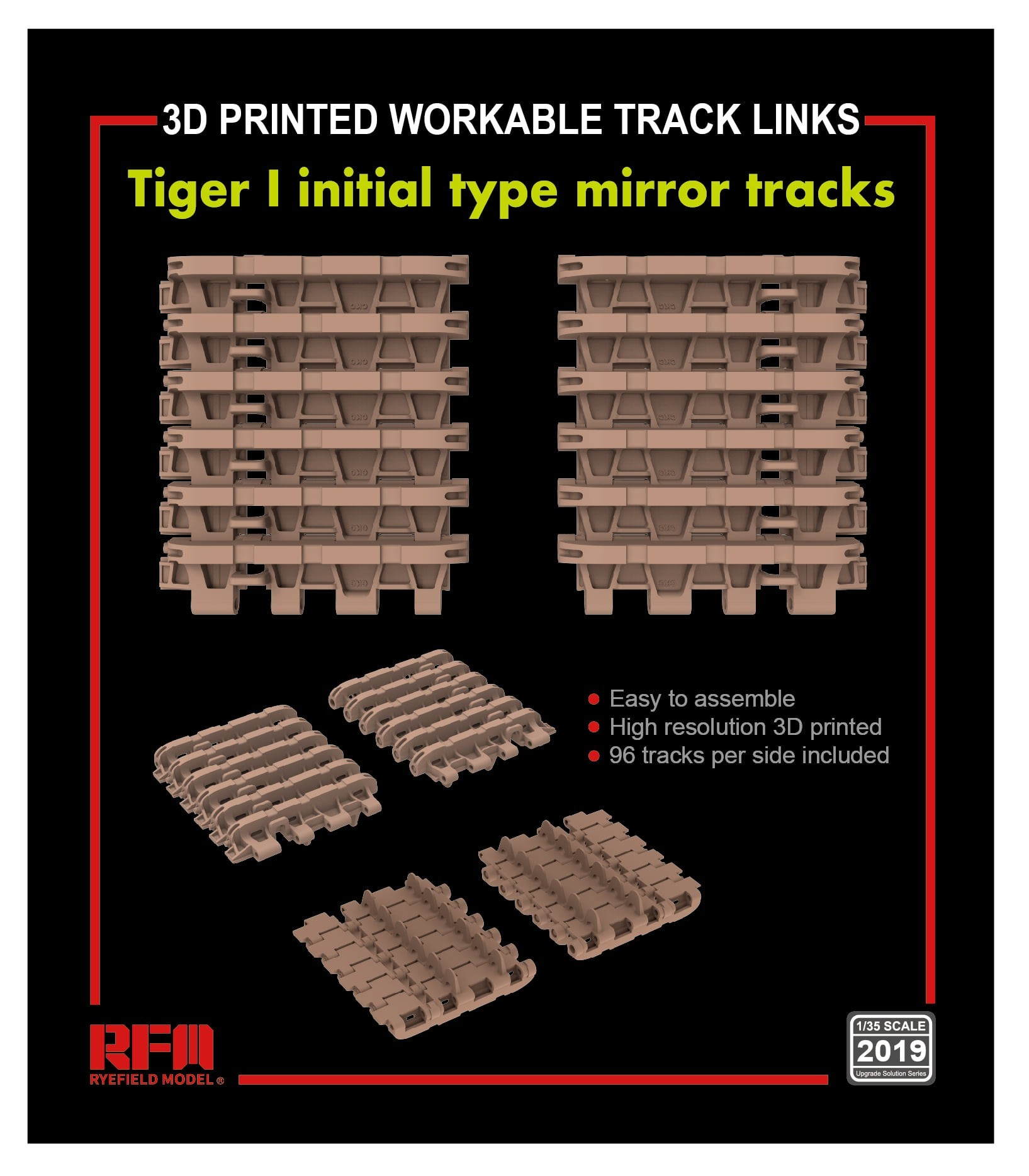 RM-2019 - Workable track links for Tiger I initial type mirror tracks
